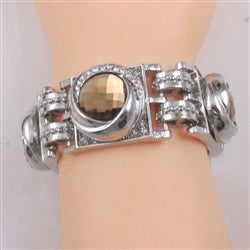 Buy brown crystal &  silver with linked cuff bangle bracelet