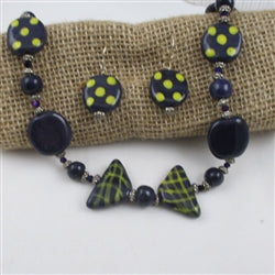 Buy Fair Trade Purple & Yellow Kazuri Necklace Online