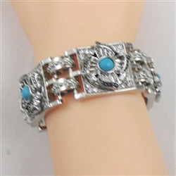 Buy turquoise ina flower motif &  silver with linked cuff bangle bracelet