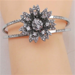 Buy rhinestone & silver with  flower accent cuff bangle bracelet