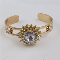 Buy gold with  clear  crystal rhinestone  accent cuff bangle bracelet