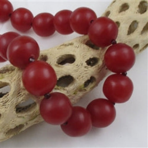 Resin African trade bead handmade necklace Cherry Red