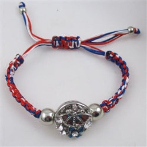 Kid's red, blue & white  braided butterfly bracelet