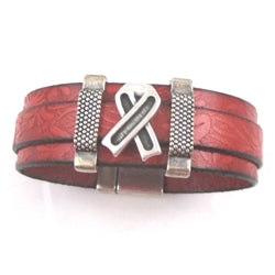 Red awareness  leather bracelet - heart disease