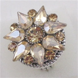 Delightful beige crystal fashion ring