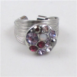 Delightful rhinestone multi-colored fashion ring