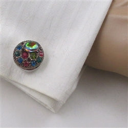 Buy unisex multi-colored multi crystal cuff links