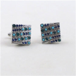Buy unisex cuff links in multi-stoned aqua, blue & green  crystals