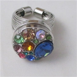 Delightful  multi-colored  multi-stone crystal fashion ring