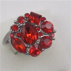 Delightful  red multi rhinestone silver fashion ring