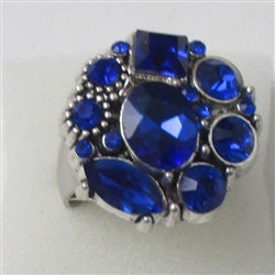 Delightful  royal blue multi rhinestone silver fashion ring