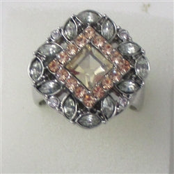 Delightful fun peach & rhinestone fashion ring