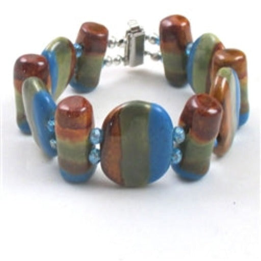 Handmade Buy olive, blue  & brown Kazuri fair trade beads with copper accents make this cuff bangle bracelet