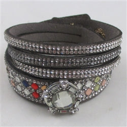 Buy Wide Double Wrapped  Cuff Grey Leather Bracelet