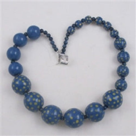 Buy big bold handmade fair trade kazuri blue & yellow bead  necklace