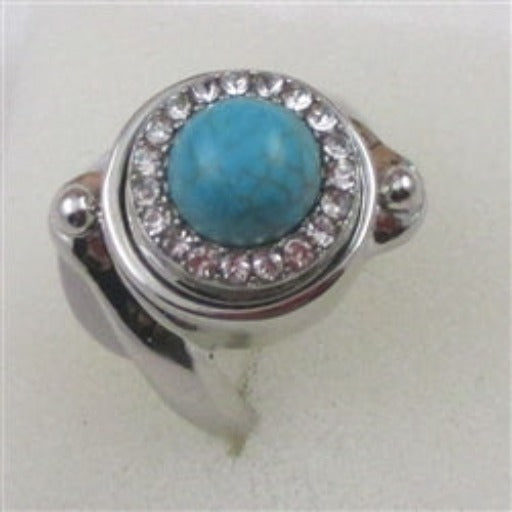 Delightful turquoise & rhinestonel fashion ring