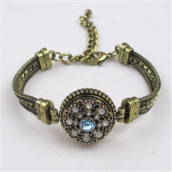 Buy aqua & white  crystal  antique gold bangle bracelet