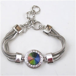 Buy rainbow crystal; rhinestone & silver bangle bracelet