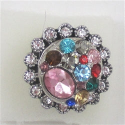 Delightful crystal &  rhinestone silver fashion ring