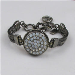 Buy white multi crystal,& on a antique brass bangle bracelet