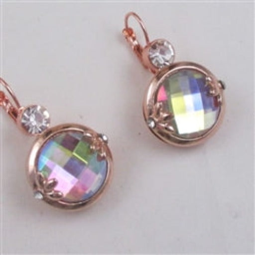 Buy  A/B crystal & rose gold drop earrings
