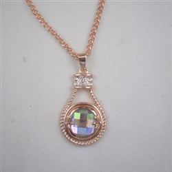 A/B crystal & rose gold pendant necklace