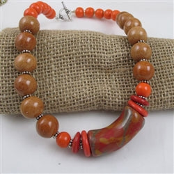 Orange bead handmade Kazuri necklace