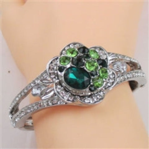 Buy Green Multi Crystal Silver Bangle Bracelet