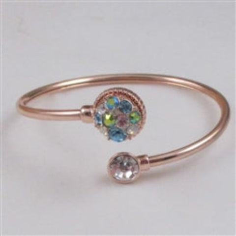 Buy Aqua Multi-stone & Rhinestone  Crystal Rose Gold  Bangle Bracelet