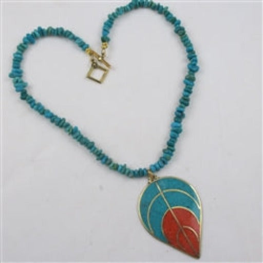 Buy turquoise nugget & coral pendant necklace
