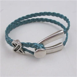 Buy Teal Braided Leather  Awareness Bracelet for a Woman