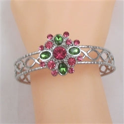 Buy Pink & Green Multi Crystal  & Silver Bangle Bracelet