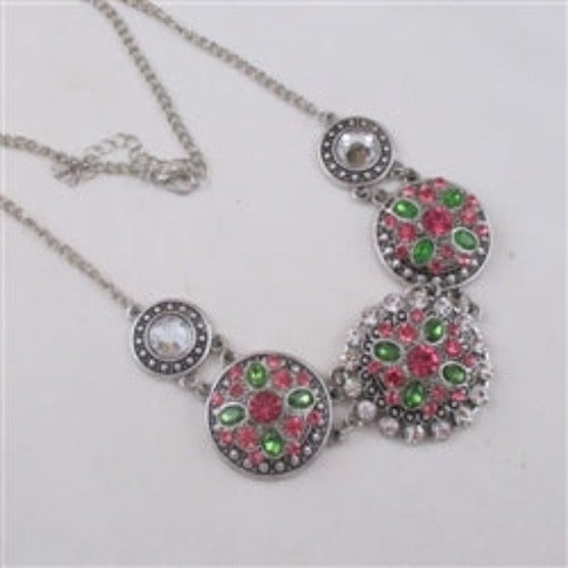 Pink & Green crystal flower statement necklace