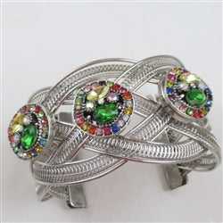 Buy silver cuff wide bracelet with a trio of  multi-colored multi-stone crystal accent