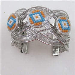 Buy silver  cuff wide bracelet with a trio of  turquoise southwestern looking accent