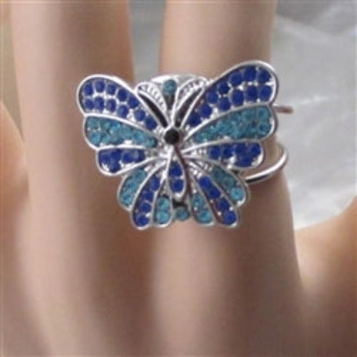 Delightful fun big bold ring  with a blue & aqua butterfly
