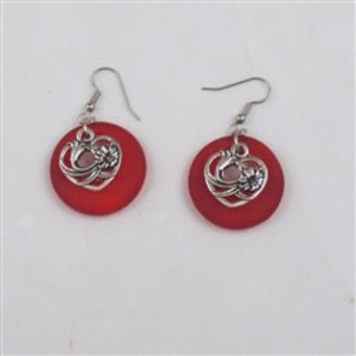 Buy red sea glass earring pewtheart charms