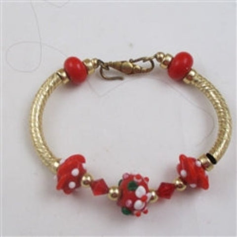 Gold bangle bracelet win holiday colors artisan bead accents
