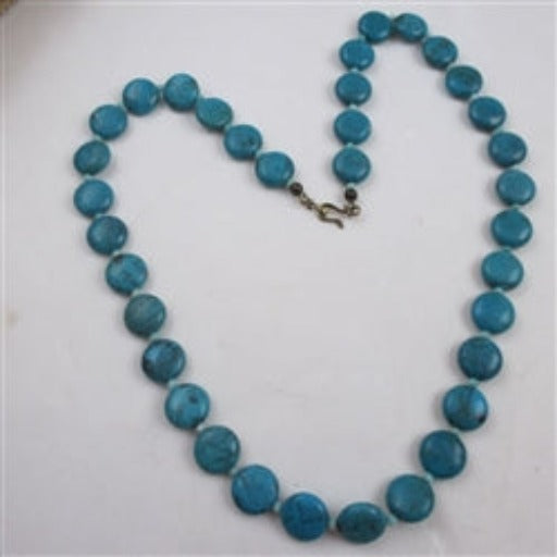 Turquoise round coin bead necklace