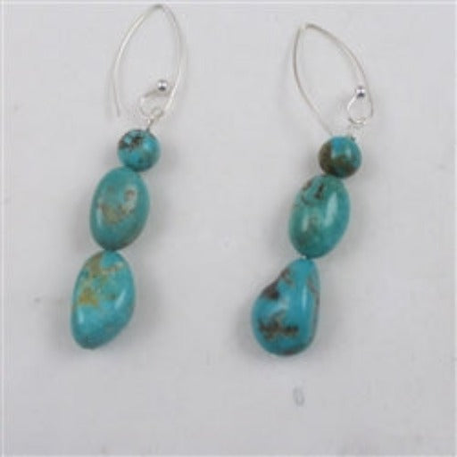 Unique handmade natural Kingman turquoise earrings