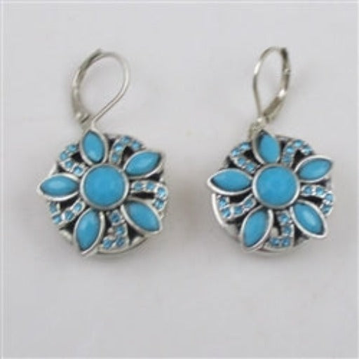 Buy  turquoise floral motif silver drop earrings