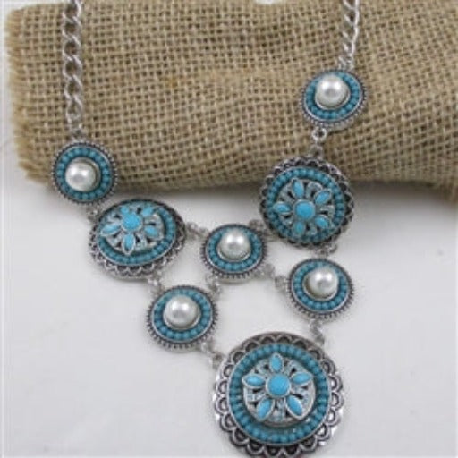 Buy turquoise & pearl boho multi charm statement necklace Southwestern Style