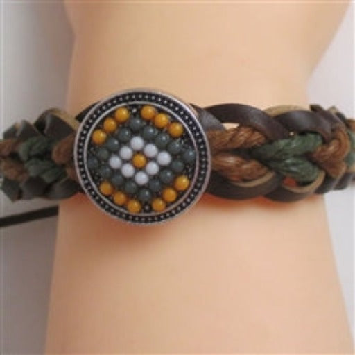 Brown & Green leather/paracord braided bracelet