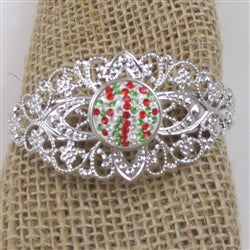 Buy a red & green crystal accented holiday cuff bangle bracelet