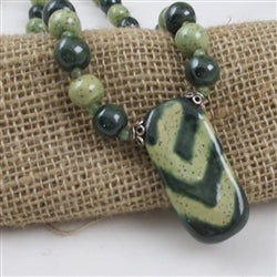 Buy moss green & light green beaded  Kazuri pendant necklace