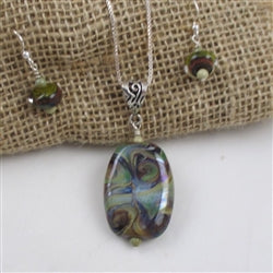 Buy Handmade Shades of Green Swirled Artisan Bead Pendant on Silver Chain