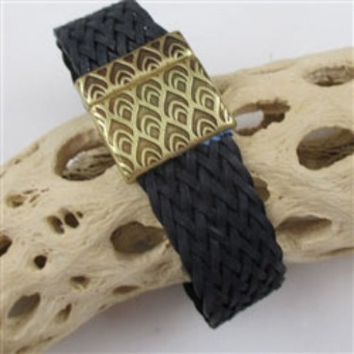 Black braided leather bracelet for a man