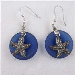 Buy blue sea glass earring pewter starfish charms