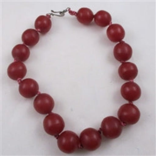 Resin African trade bead handmade statement necklace Cherry Red