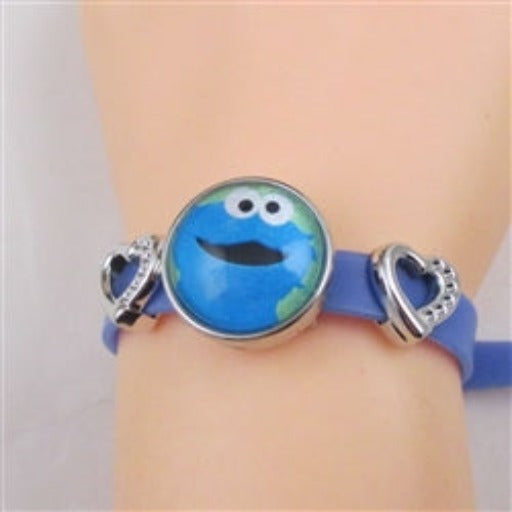 Kid's blue bracelet with cute accent cookie monster